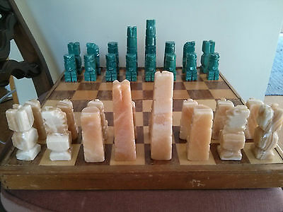 Vintage Set of 32 Hand Carved Stone Chess Pieces made of quartz/marble? w board