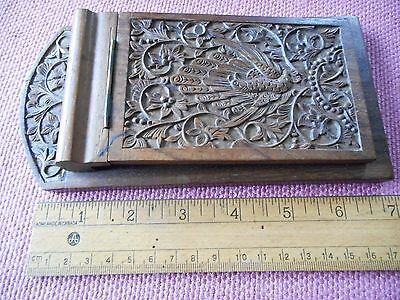 """Vintage 7"""" wooden desk notepad/notebook holder with beautiful wood carving top"""