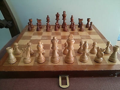 """Vintage 13.5"""" wooden chess set with a board"""