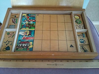 Vintage SIMPLEX sequencing wooden puzzle for kids, incomplete, made in Holland