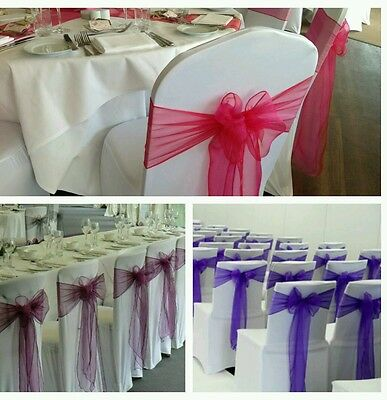 ^^SPECIAL OFFER ^^80 White Wedding Lycra chair covers and sashes for RENTALONLY