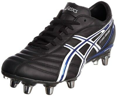 (9 UK, Black/White/Blue) - Asics Men's Lethal Charge Rugby Boot. Best Price