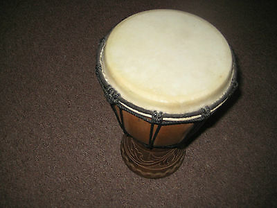 Hand carved African wooden drum