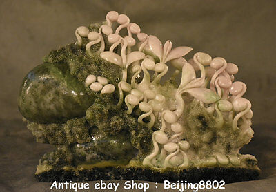 """9"""" Chinese Dushan Stone Jade Bean Sprout Overflowing With Vigour Art Sculpture"""
