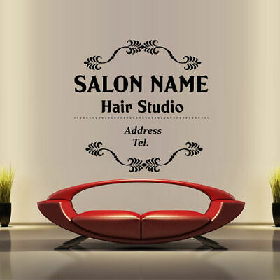 Wall Decal Name Hair Salon Custom Beauty Hairstyle Hairdresser Signboard M1419