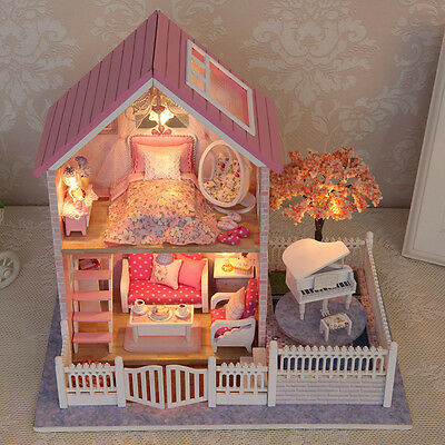 Wood Handicraft Doll House Miniature LED Pink Dollhouse Furniture DIY Toy Gift