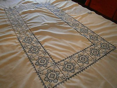 1950 Tablecloth Blue & White Hand Made Cross Stitch Size 49X59