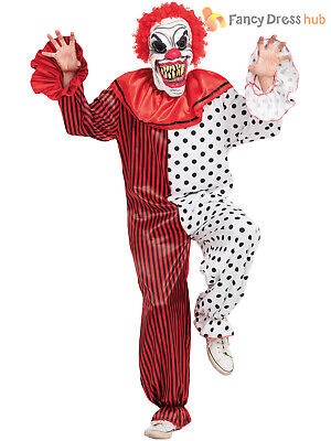 Mens Scary Horror Clown Costume Adult Creepy Circus Halloween Fancy Dress Outfit