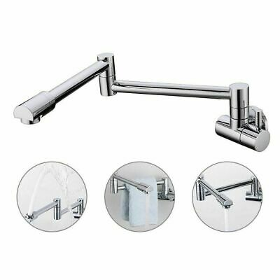 Pot Filler Kitchen Sink Faucet Wall Mount Dual Joint Swing Arm 360 Rotate Spout