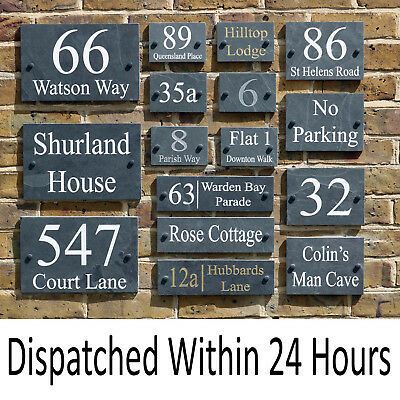 Deep Engraved Personalised Natural Slate House Door Gate Number Sign Plaque