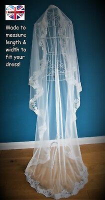 Mantilla Wedding Veil *Chapel Length*1 Tier*Off white/ Ivory*Wide Corded Lace *
