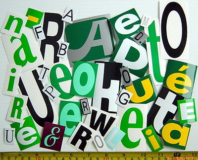 ONE LOT OF 40 AUTOADHESIVE GLOSSY VINYL LETTERS, IN.& OUTDOOR USE, SCRAPBOOK No2