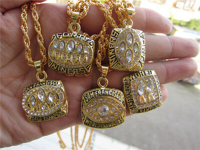 5cps San Francisco 49ers championship ring pendant necklace 24 inch chain gift