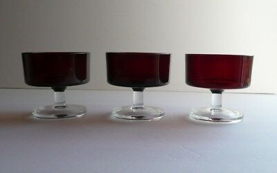 Set of 3 RUBY RED Champagne Sherbet Stemware Glasses CAVALIER Cristal D'Arques