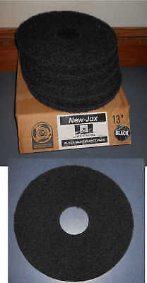 "New-Jax 13"" Floor Maintenance Pads (5) Black Stripping Buffing Black Pads"