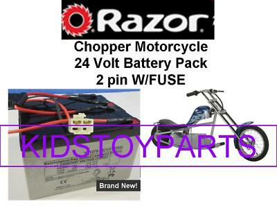 New! 24V Battery Pack for Razor Chopper Motorcycle 2 PIN CONNECTOR W/FUSE ON TOP