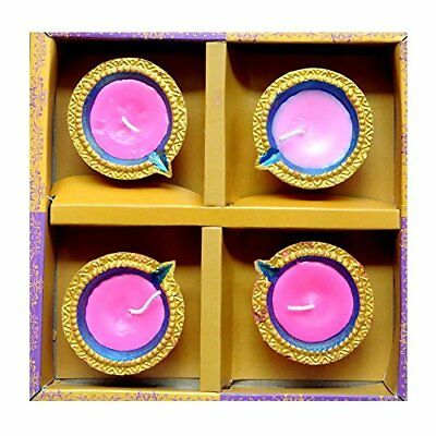 Traditional Multicoloured Diwali Diya with Wax & Glitter (Pack of 4) - ED86503