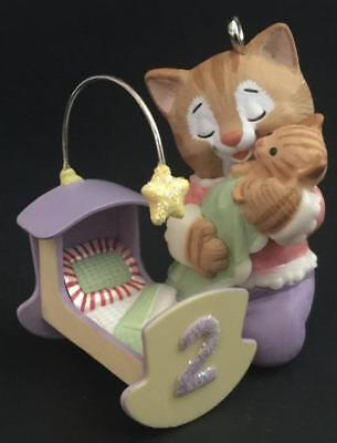 2006 My Second Christmas Hallmark Ornament Child's Age Collection Cat with Crib