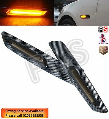 2 Bmw E90 E91 E92 E93 E60 E61 E81 E82 E87 E88 6 Led Carbon Side Marker Repeater