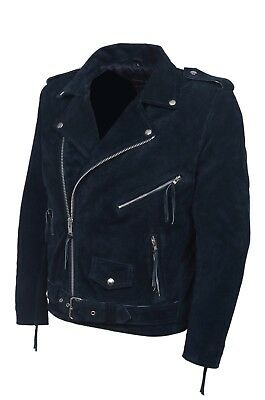 BRANDO Brown Suede Men/'s Classic Biker Style Real Leather Jacket MBF