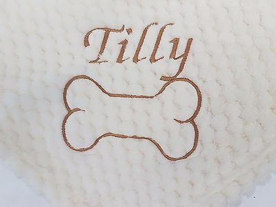 Personalised Dog/puppy Waffle  First Blanket For Bed Name Embroidered Super Soft