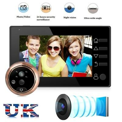 "4.3"" Color Smart Doorbell Peephole Viewer Camera Video Record 160° Night Vision"