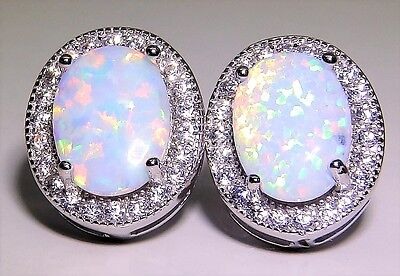 Sterling Silver (925) Opal Cabochon Ladies Stud Earrings -