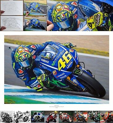 Valentino Rossi The Doctor 2017 MotoGP Yamaha YZRM1 oil painting fine art print