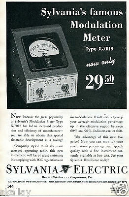 1948 Print Ad of Sylvania Electric Modulation Meter Type X-7018