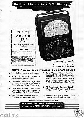 1948 Print Ad of Triplett Electrical Instrument Co Model 360 VOM Bluffton OH
