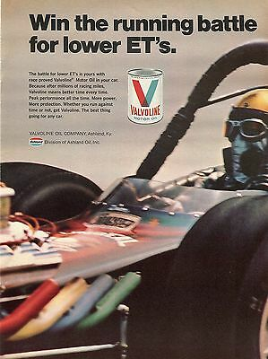 1970 Valvoline Motor Oil Win The Battle For Lower ET's T/F Dragster Print Ad