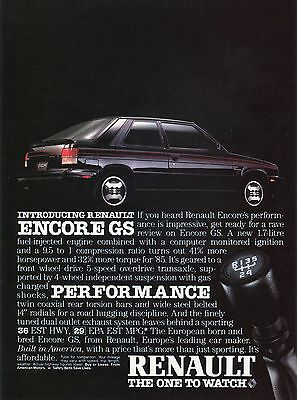 1984 Renault Encoure GS The One To Watch Print Ad