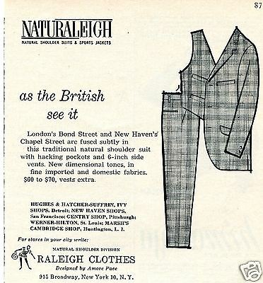 1960 Raleigh Clothes Naturaleigh Natural Shoulder Suit Print Ad