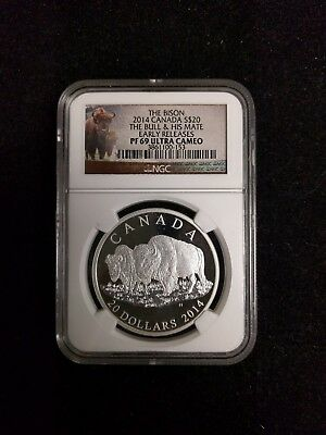 2014 Canada $20 Silver The Bison The Bull & His Mate NGC PF69 Ultra Cameo F/S
