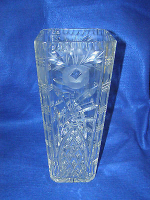 """Vintage Clear Cut Glass Crystal Vase Square Shape 12 3/8"""" Tall Flowers"""