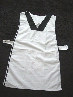 White with Black Edging Smock Apron Lab Coat Protective Garment Size 5 NW99