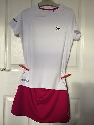 Girls Pink & White Dunlop 2 Piece Tennis Outfit Aged 11-12