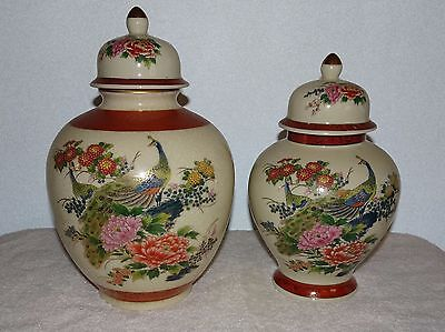 Beautiful Vintage Lot Of 2 Satsuma Japan Peacock Design Vase Jars & Lids Signed