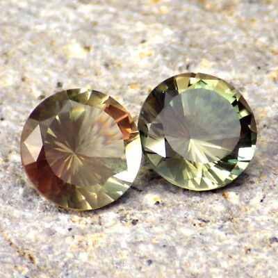 GREEN-PINK DICHROIC OREGON SUNSTONE 2.99Ct TW FLAWLESS-PERFECT CUT-JEWELRY PAIR-