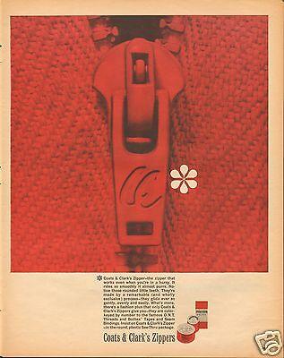 1961 Coats & Clark's Red Zippers LARGE Print Ad