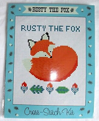 Rusty the Fox Cross-Stitch Sampler Kit - Vintage Crafts