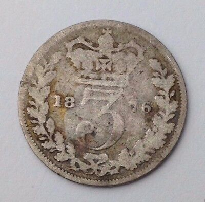 Dated : 1876 - Silver Coin - Threepence / 3d - Queen Victoria - Great Britain