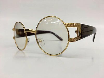 60da1915a38 Mens VINTAGE RETRO Style Clear Lens EYE GLASSES Round Gold Fashion Frame