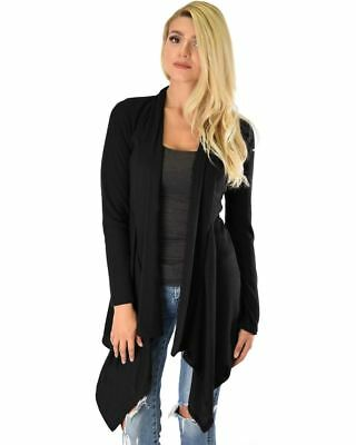 Lyss Loo Body Slimming Draped Ribbed Black Cardigan