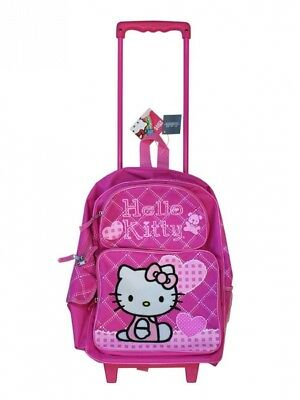 Full Size Pink Hearts Hello Kitty Rolling Backpack - Pink Hello Kitty Luggage