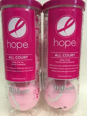 Wilson Hope Tennis Balls Pink All Court 2 Cans Breast Cancer