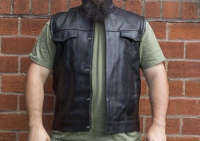 Real Leather Waistcoat Biker Vest SOA Sons Of Anarchy Style XXL