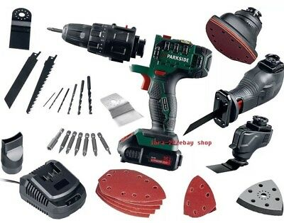 Parkside 14.4V 4-in-1 Cordless Drill Sabre Saw Sander Grip Chuck Multi Tool
