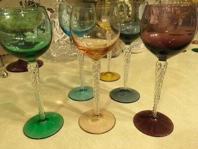 Vintage Hock Glasses With Twisted Stems And Coloured Base