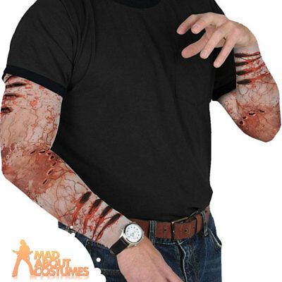 Adult Zombie Sleeves Bite Party Halloween Horror Mens Fancy Dress Accessory New